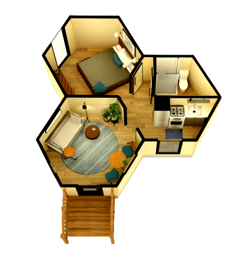 360 Sq Ft TimyComb tinyhouse over head view.